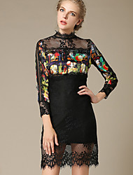 Women's Print Black Dress  Vintage  Sexy Stand Long Sleeve