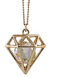 Hollow Diamond Frame Pictographic Long Necklace *1pc