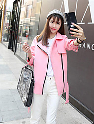Women's Solid Pink Jackets , Casual Long Sleeve