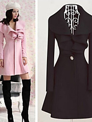 Women's Solid Color Pink / Red / Black Coats & Jackets , Casual Square Long Sleeve