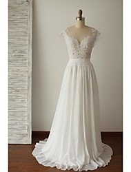 A-line Plus Sizes / Petite Wedding Dress - Chic & Modern Open Back / See-Through Wedding Dresses Sweep / Brush Train Scoop Chiffon / Lace