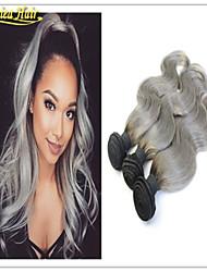 2015 nuevas extensiones más calientes de plata gris ombre brasileñas virginales del pelo humano teje la onda del cuerpo de la trama 1
