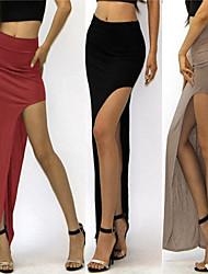 Faldas ( Poliéster / Tejido romano )- Sexy / Playa / Casual Tiro Alto Maxi para Mujer