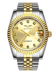 homens guanqin auto-liquidação relógio de diamantes 100m de aço cristal luminosa calendário de safira à prova de água 38 milímetros