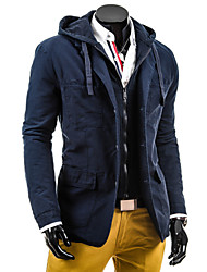 Men's V-Neck Coats & Jackets , PU Long Sleeve Casual Pocket Winter / Fall NEWJOGAL