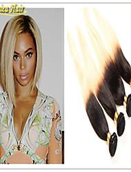 pelo remy virginal recta baratos manojos de cabello humano recto brasileño de Remy ombre armadura extensión del pelo color del pelo