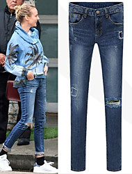 Women's Solid Color Blue Jeans , Bodycon Mid Rise Jeans