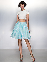 A-Line Jewel Neck Knee Length Jersey Cocktail Party Homecoming Prom Dress with Pattern / Print