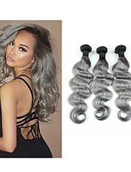 """3pcs / lot 10 """"-34"""" faisceaux gris ombre cheveux gris tissu gris vague de corps non transformés cheveux vierge péruvienne"""