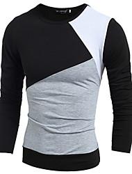 MEN - T-shirt - Vintage / Informale Rotondo - Maniche lunghe Cotone / Raion