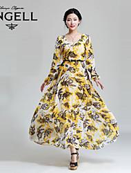De las mujeres Vestido Maxi - Flor / Frunce / Volante Escote Redondo - Raso - Manga Larga