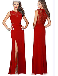 Women's Lace Red / Black Dresses , Sexy / Bodycon Round Sleeveless