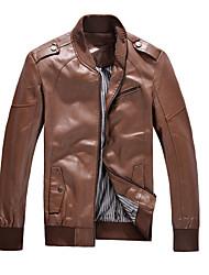Men's Long Sleeve Jacket , PU Casual / Work / Formal Pure