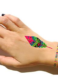 5Pcs Waterproof Fluorescent Feather Temporary Body Art Tattoo Sticker
