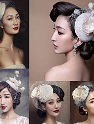 Classic White Elastic Organza Headpiece Hat Fascinators for Party