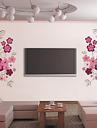 Beautiful Flowers TV Backdrop Plane Wall Stickers Wall Decor , PVC Removable
