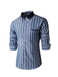 Men's Long Sleeve Shirt , Cotton Casual / Work Striped