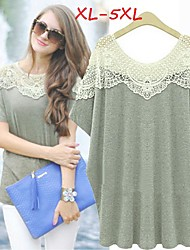 Women's Lace Plus Size Tops & Blouses , Casual/Lace Round Short Sleeve