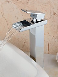 Contemporary Waterfall Brass Chrome Finish Faucet