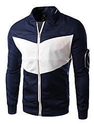 Men's Long Sleeve Jacket , Cotton Casual/Work/Formal/Sport Pure