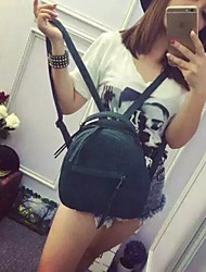 Women PU Backpack - Green/Gray/Black