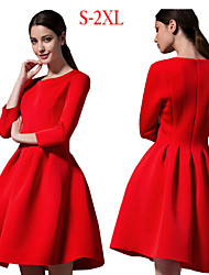 Women's Solid Red / Black Dresses , Casual Round ¾ Sleeve