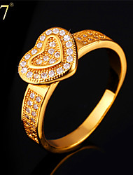 U7® Women's Clear Cubic Zirconia Engagement Rings Anniversary Jewelry Gift for Her 18K Gold Plated Romantic Heart Ring