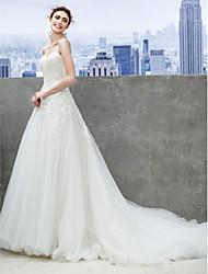Lanting sposa una linea di abito da sposa cappella treno Sweetheart tulle