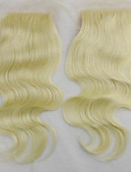 "Remy Human Hair Lace Closures #613 Bleached Knots 4*4 Inch Body Wave Top Lace Closure 10""-18"""
