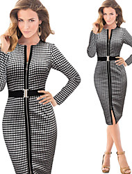 Women's Check / Solid Color Black Dresses , Casual / Print / Party / Work Round Long Sleeve