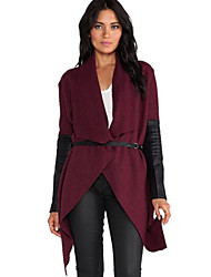 Women's PU  Wool Blends Patchwork  Trench Coat