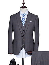 Suits Standard Fit Notch Single Breasted One-button Cotton Blend Checkered / Gingham 3 Pieces Dark Blue