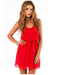 Women's Sexy / Casual Solid A Line Dress , V Neck Above Knee Polyester / Chiffon