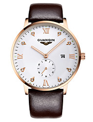GUANQIN® Luxury Men Japanese Quartz Waterproof Sapphire Crystal Calendar Leather Band 39mm Business Wrist Watch Cool Watch Unique Watch With Watch Box