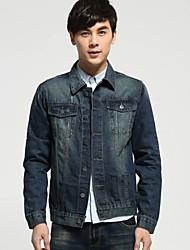 Men's Solid Color Printing Slim Denim jacket