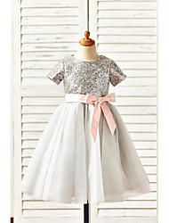 A-Line Knee Length Flower Girl Dress - Tulle Sequined Short Sleeves Jewel Neck with Sequin by thstylee