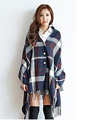 Women Fringed Plaid Scarf , Cute / Casual