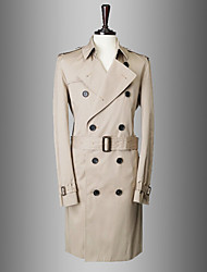 Men's Solid Casual / Work Trench coat,Cotton Long Sleeve-Blue / Beige / Tan