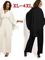 Plus Size (XL-4XL)Women's Plus Size Jumpsuit , Vintage / Sexy / Beach / Casual / Cute /V-Neck Loose VICONE