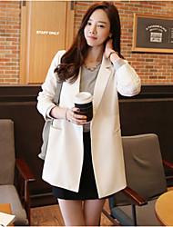 Blazer Aux femmes Long Manches Longues Décontracté / Travail Coton