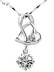 WH 925 Heart Silver Pendant Crystal Necklace