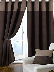 Two Panels European Contracted Splicing Style Faux Suede Curtains Drapes