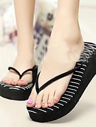Women's Shoes PVC Flat Heel Flip Flops Slippers Outdoor Black