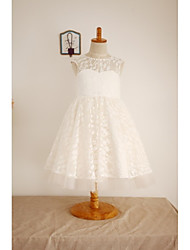 A-Line Knee Length Flower Girl Dress - Lace Tulle Sleeveless Scoop Neck with Lace