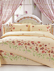 Mingjie® Yellow Flowers Queen and Twin Size Sanding Bedding Sets 4pcs for Boys and Girls Bed Linen China Wholesale