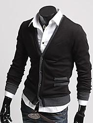 Men's V-Neck T-Shirts , Acrylic / Organic Cotton / Rayon Long Sleeve Casual Fashion Winter / Fall TOPHERE