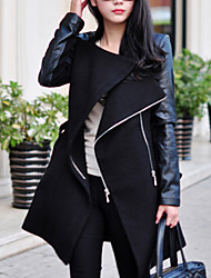Women's Original PU Patchwork Slim Trench Coat , Casual / Work Long Sleeve