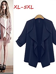 Women's Solid Blue/Pink/Yellow Plus Size Coats & Jackets , Casual Round Long Sleeve