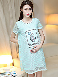 Vestido de maternidad Mini Poliéster - Escote Redondo Manga Corta
