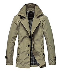 Men's Long Sleeve Regular Trench coat , Cotton / Polyester Pure